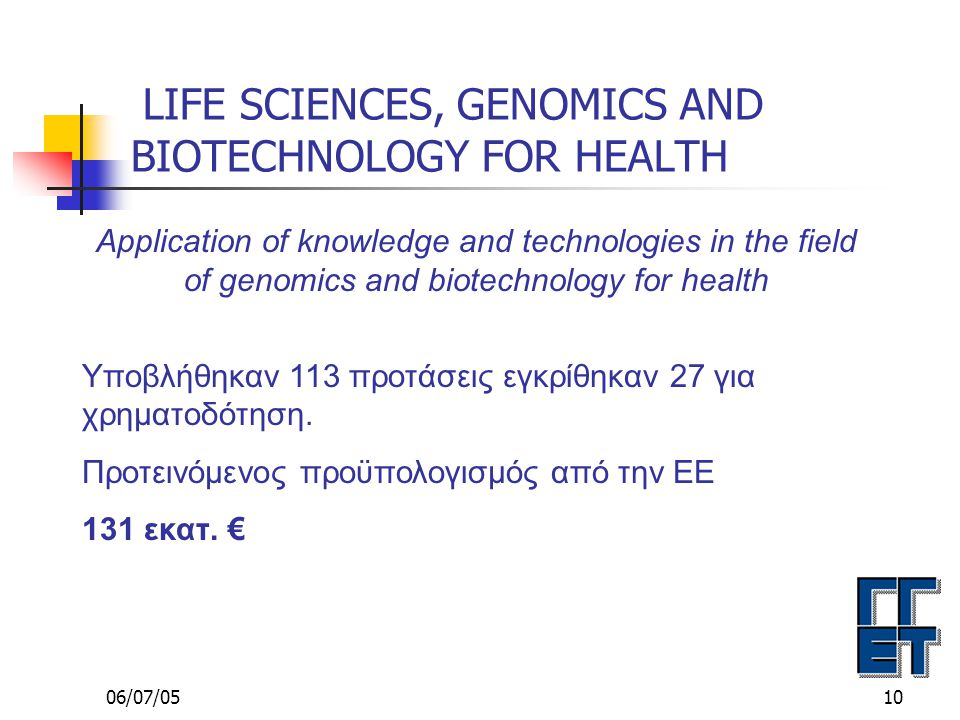 06/07/0510 LIFE SCIENCES, GENOMICS AND BIOTECHNOLOGY FOR HEALTH Application of knowledge and technologies in the field of genomics and biotechnology for health Υποβλήθηκαν 113 προτάσεις εγκρίθηκαν 27 για χρηματοδότηση.