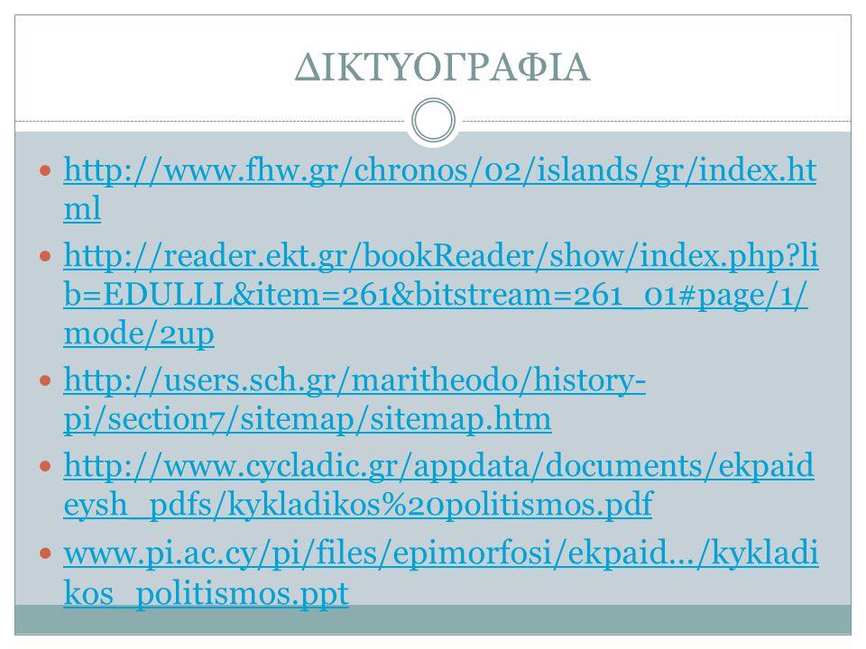 ΔΙΚΤΥΟΓΡΑΦΙΑ http://www.fhw.gr/chronos/02/islands/gr/index.ht ml http://www.fhw.gr/chronos/02/islands/gr/index.ht ml http://reader.ekt.gr/bookReader/s