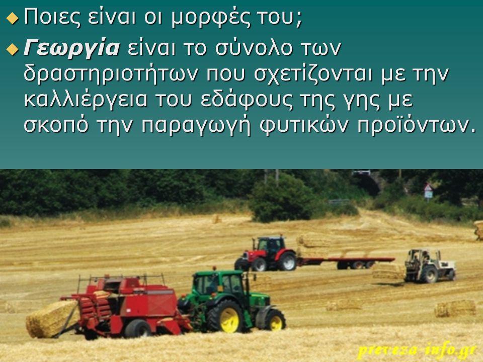  Ποιες είναι οι μορφές του;  Γεωργία είναι το σύνολο των δραστηριοτήτων που σχετίζονται με την καλλιέργεια του εδάφους της γης με σκοπό την παραγωγή φυτικών προϊόντων.