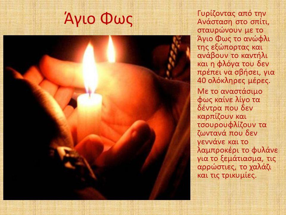 Άγιο Φως Γυρίζοντας από την Ανάσταση στο σπίτι, σταυρώνουν με το Άγιο Φως το ανώφλι της εξώπορτας και ανάβουν το καντήλι και η φλόγα του δεν πρέπει να