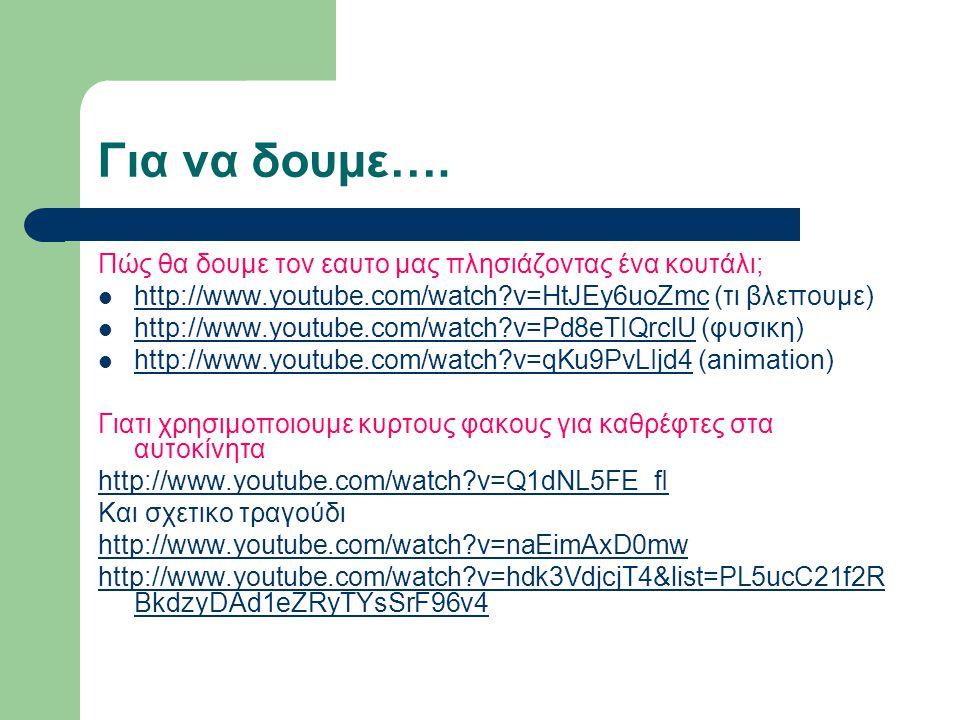 Για να δουμε…. Πώς θα δουμε τον εαυτο μας πλησιάζοντας ένα κουτάλι; http://www.youtube.com/watch?v=HtJEy6uoZmc (τι βλεπουμε) http://www.youtube.com/wa