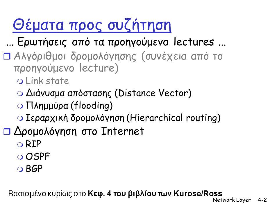 Network Layer4-2 Θέματα προς συζήτηση... Ερωτήσεις από τα προηγούμενα lectures... r Αλγόριθμοι δρομολόγησης (συνέχεια από το προηγούμενο lecture) m Li
