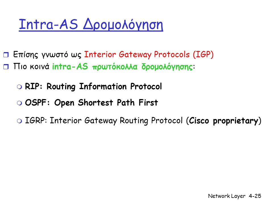 Network Layer4-25 Intra-AS Δρομολόγηση r Επίσης γνωστό ως Interior Gateway Protocols (IGP) r Πιο κοινά intra-AS πρωτόκολλα δρομολόγησης: m RIP: Routing Information Protocol m OSPF: Open Shortest Path First m IGRP: Interior Gateway Routing Protocol (Cisco proprietary)