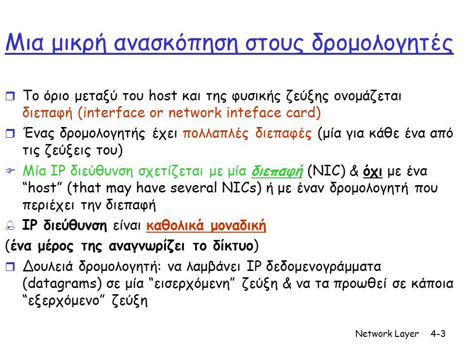 Network Layer4-4 Τι είπαμε να θυμάστε ; (από το προηγούμενο μάθημα) r Δρομολόγηση κατάσταση ζεύξης(Link-state routing): m ένας κόμβος προσπαθεί να πάρει μία ολοκληρωμένη εικόνα του δικτύου διαμέσου της φωνής ( πλημμύρας ) r Διάνυσμα απόστασης (Distance-vector): m Ένας κόμβος νοιάζεται μόνο για τους γείτονές του και παίρνει τοπικές πληροφορίες m όχι ολοκληρωτική σκοπιά του δικτύου