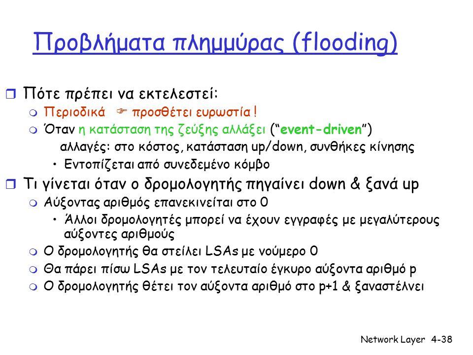 Network Layer4-38 Προβλήματα πλημμύρας (flooding) r Πότε πρέπει να εκτελεστεί: m Περιοδικά  προσθέτει ευρωστία ! m Όταν η κατάσταση της ζεύξης αλλάξε
