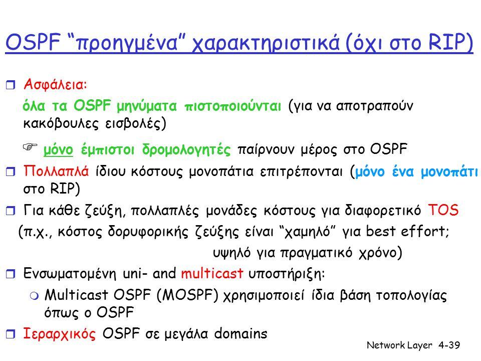 "Network Layer4-39 OSPF ""προηγμένα"" χαρακτηριστικά (όχι στο RIP) r Ασφάλεια: όλα τα OSPF μηνύματα πιστοποιούνται (για να αποτραπούν κακόβουλες εισβολές"