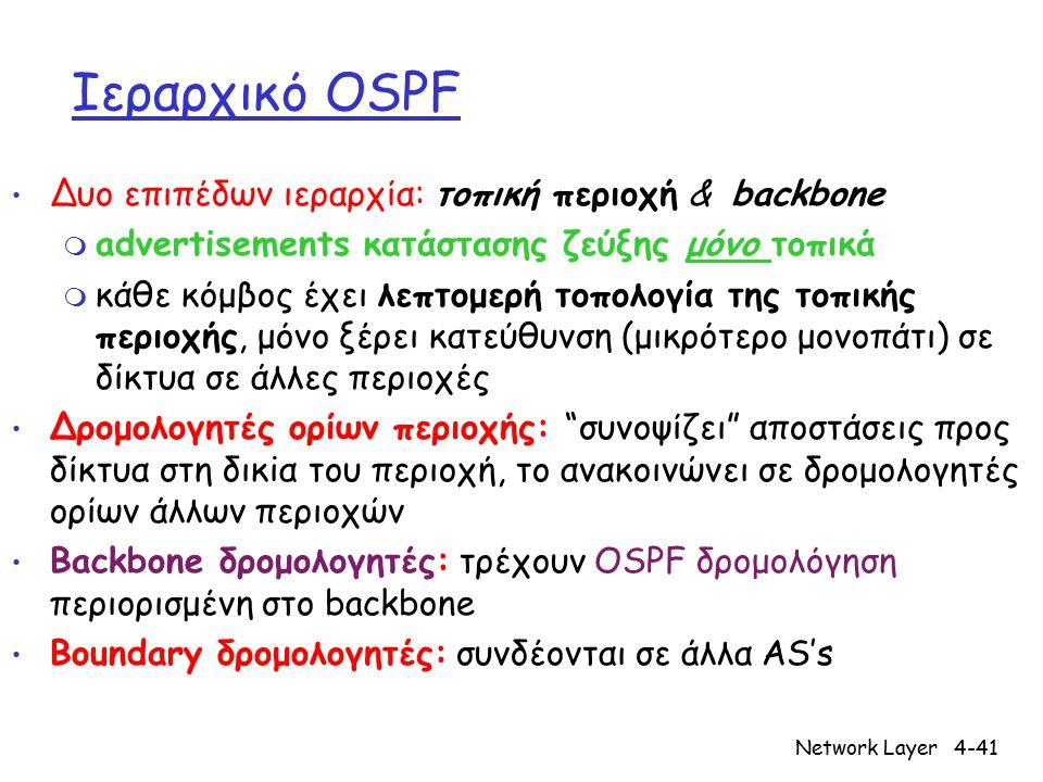 Network Layer4-41 Ιεραρχικό OSPF Δυο επιπέδων ιεραρχία: τοπική περιοχή & backbone m advertisements κατάστασης ζεύξης μόνο τοπικά m κάθε κόμβος έχει λε