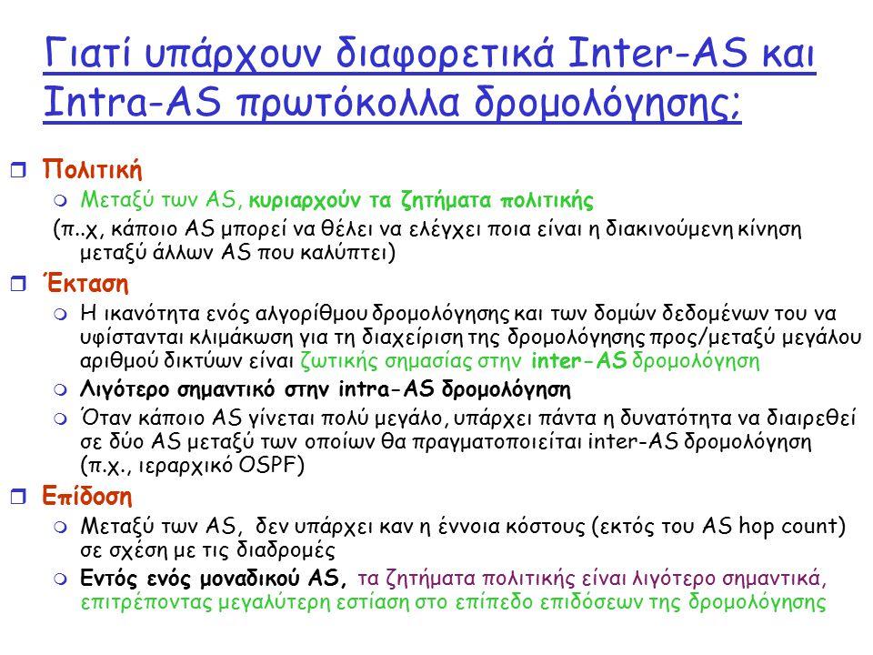 Γιατί υπάρχουν διαφορετικά Inter-AS και Intra-AS πρωτόκολλα δρομολόγησης; r Πολιτική m Μεταξύ των AS, κυριαρχούν τα ζητήματα πολιτικής (π..χ, κάποιο A