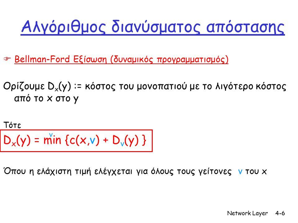 Network Layer4-17 Κριτήρια απόδοσης ενός πρωτοκόλλου δικτύων r Αλγοριθμική πολυπλοκότητα  Καθυστέρησεις (πχ χρόνος για να υπολογιστεί το αποτέλεσμα) m Απαιτήσεις σε ενέργεια & υπολογιστική δύναμη r Αριθμός μηνυμάτων m Απαιτήσεις σε ενέργεια m Χρόνος για να υπολογιστεί το αποτέλεσμα ή να καταλήξουν οι συσκευές που κάνουν τους υπολογισμούς (στην περίπτωση ενος distributed αλγορίθμου) στο ίδιο αποτέλεσμα ( time of convergence ) r Kλιμακοθετησιμότητα (scalability)  Τι γίνεται όταν αυξάνεται ο αριθμός των συσκευών που συμμετέχουν (πχ μεγαλώνει το δίκτυο) r Ευρωστία (robustness, fault tolerance) m Πόσο ευάλωτο είναι σε διάφορες επιθέσεις m Πώς αλλάζει η απόδοση του δικτύου όταν αυξάνονται οι επιθέσεις ή ο αριθμός των συσκευών που αντιμετωπίζουν κάποιο πρόβλημα r Ακρίβεια στους υπολογισμούς