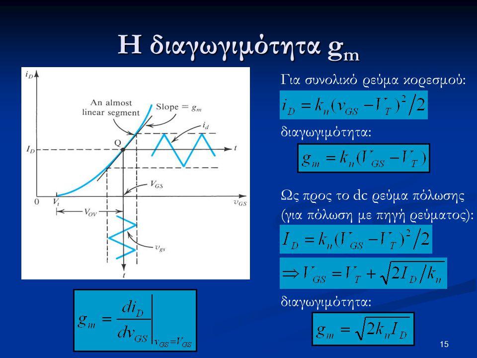 15 Η διαγωγιμότητα g m Για συνολικό ρεύμα κορεσμού: διαγωγιμότητα: Ως προς το dc ρεύμα πόλωσης (για πόλωση με πηγή ρεύματος): διαγωγιμότητα: