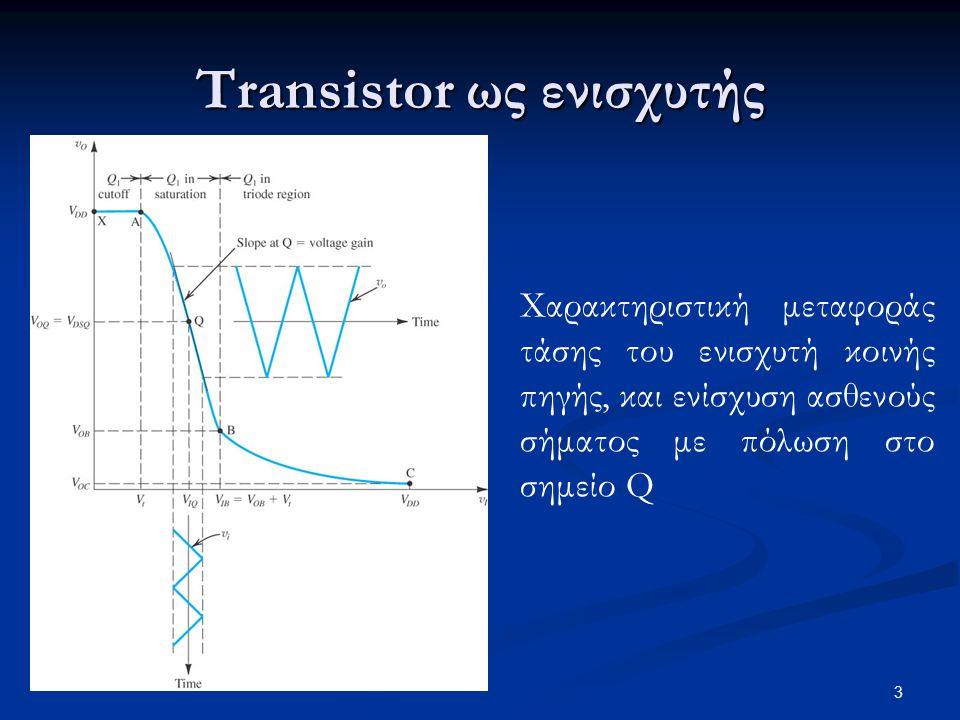 34 Ενισχυτής κοινής πύλης Η αντίσταση εισόδου 1/g m του ενισχυτή κοινής πύλης είναι πολύ μικρή, οπότε υπάρχει μεγάλη απώλεια σήματος (και συνολικού κέρδους τάσης) από τη σύνδεση της πηγής σήματος στην είσοδο του ενισχυτή Σύνδεση ασθενούς σήματος ρεύματος (μπορεί να είναι το κατά Norton ισοδύναμο του ασθενούς σήματος τάσης) στον ενισχυτή κοινής πύλης:  Ο ενισχυτής αναπαράγει το ρεύμα σήματος στην υποδοχή (λειτουργεί ως ακόλουθος ρεύματος), σε πολύ μεγαλύτερη αντίσταση εξόδου  Επίσης, έχει πολύ μεγαλύτερο εύρος ζώνης από τον ενισχυτή κοινής πηγής
