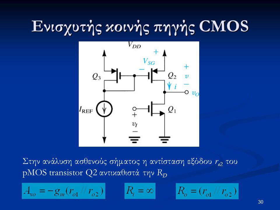 30 Ενισχυτής κοινής πηγής CMOS Στην ανάλυση ασθενούς σήματος η αντίσταση εξόδου r o2 του pMOS transistor Q2 αντικαθιστά την R D