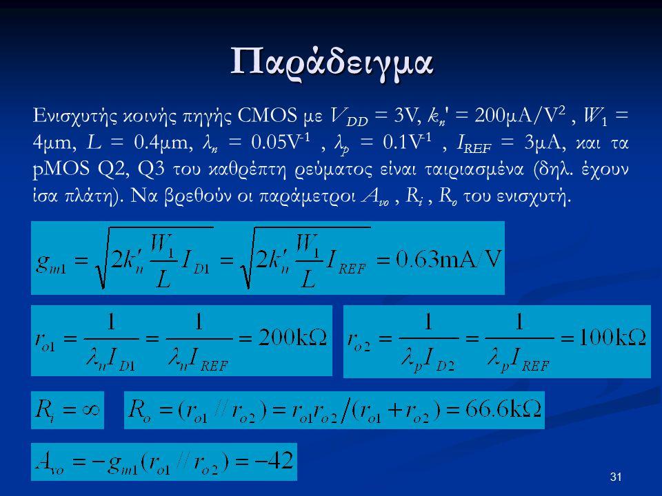 Παράδειγμα Ενισχυτής κοινής πηγής CMOS με V DD = 3V, k n = 200μΑ/V 2, W 1 = 4μm, L = 0.4μm, λ n = 0.05V -1, λ p = 0.1V -1, I REF = 3μΑ, και τα pMOS Q2, Q3 του καθρέπτη ρεύματος είναι ταιριασμένα (δηλ.