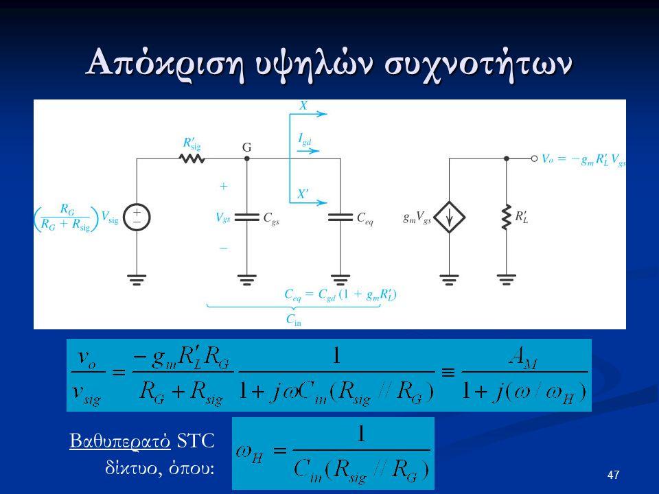 Απόκριση υψηλών συχνοτήτων Βαθυπερατό STC δίκτυο, όπου: 47