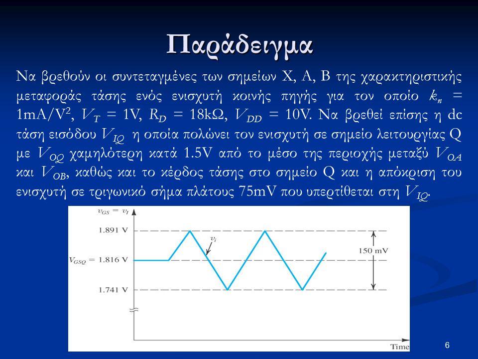 17 Μοντέλο ασθενούς σήματος Μοντέλο ασθενούς σήματος για το transistor MOS Μοντέλο ασθενούς σήματος με αντίσταση εξόδου r o = 1/λI D (λόγω διαμόρφωσης μήκους καναλιού) Για χρήση των μοντέλων στην ανάλυση ασθενούς σήματος θεωρείται ότι όλες οι πηγές του κυκλώματος έχουν μηδενική dc συνιστώσα Με ενσωμάτωση της αντίστασης εξόδου r o το κέρδος τάσης γίνεται: