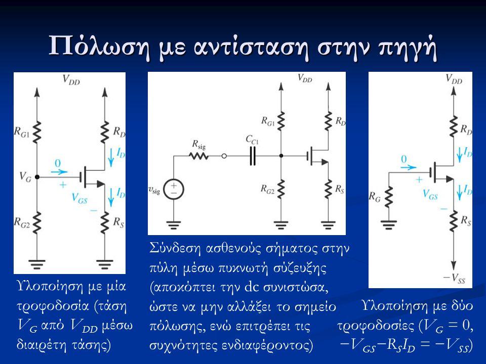 Πόλωση με αντίσταση στην πηγή Υλοποίηση με μία τροφοδοσία (τάση V G από V DD μέσω διαιρέτη τάσης) Υλοποίηση με δύο τροφοδοσίες (V G = 0, −V GS −R S I D = −V SS ) Σύνδεση ασθενούς σήματος στην πύλη μέσω πυκνωτή σύζευξης (αποκόπτει την dc συνιστώσα, ώστε να μην αλλάξει το σημείο πόλωσης, ενώ επιτρέπει τις συχνότητες ενδιαφέροντος)
