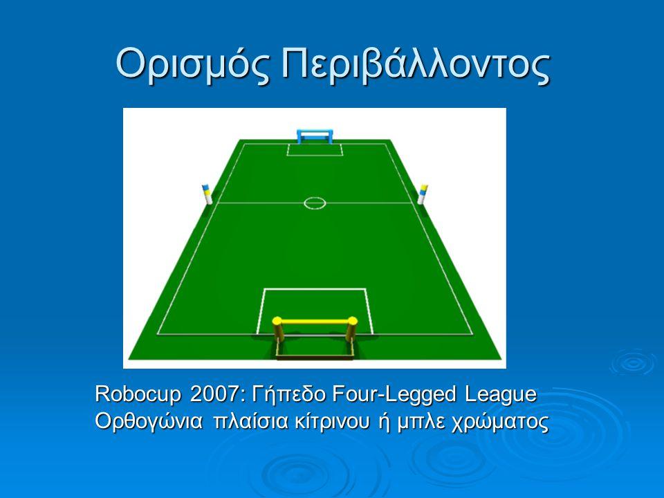 Ορισμός Περιβάλλοντος Robocup 2007: Γήπεδο Four-Legged League Robocup 2007: Γήπεδο Four-Legged League Ορθογώνια πλαίσια κίτρινου ή μπλε χρώματος Ορθογώνια πλαίσια κίτρινου ή μπλε χρώματος