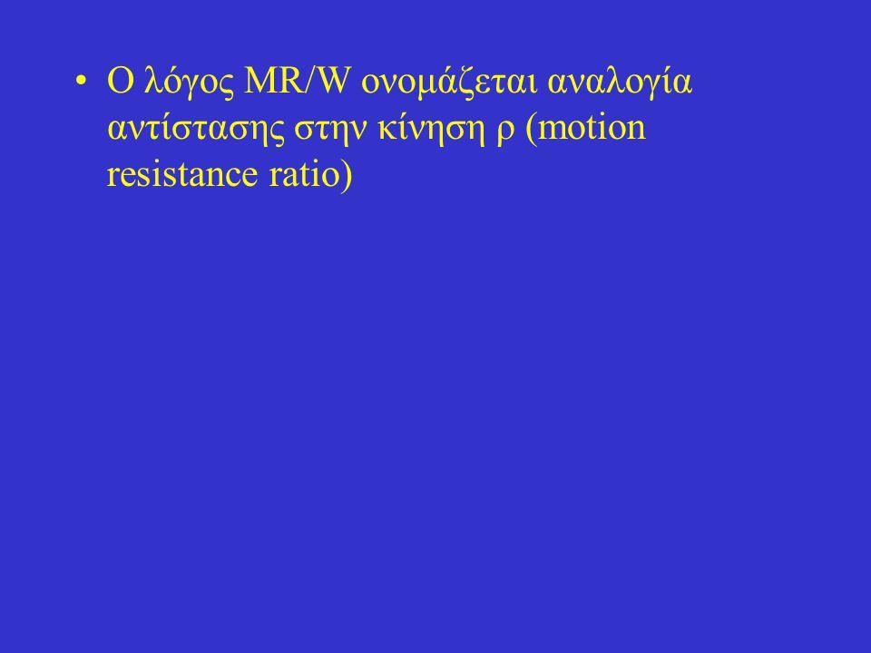 Ο λόγος MR/W ονομάζεται αναλογία αντίστασης στην κίνηση ρ (motion resistance ratio)