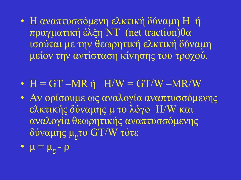 Η αναπτυσσόμενη ελκτική δύναμη Η ή πραγματική έλξη NT (net traction)θα ισούται με την θεωρητική ελκτική δύναμη μείον την αντίσταση κίνησης του τροχού.