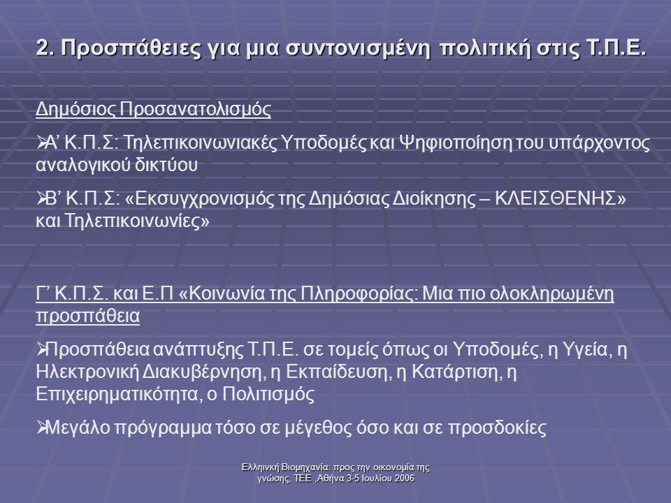 Ελληινκή Βιομηχανία: προς την οικονομία της γνώσης, ΤΕΕ,Αθήνα 3-5 Ιουλίου 2006 Δημόσιος Προσανατολισμός  Α' Κ.Π.Σ: Τηλεπικοινωνιακές Υποδομές και Ψηφιοποίηση του υπάρχοντος αναλογικού δικτύου  Β' Κ.Π.Σ: «Εκσυγχρονισμός της Δημόσιας Διοίκησης – ΚΛΕΙΣΘΕΝΗΣ» και Τηλεπικοινωνίες» 2.