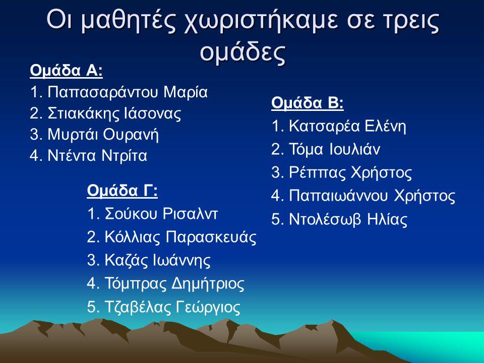 Οι μαθητές χωριστήκαμε σε τρεις ομάδες Ομάδα Α: 1. Παπασαράντου Μαρία 2. Στιακάκης Ιάσονας 3. Μυρτάι Ουρανή 4. Ντέντα Ντρίτα Ομάδα Β: 1. Κατσαρέα Ελέν