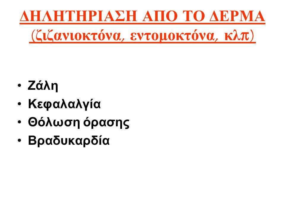 ΔΗΛΗΤΗΡΙΑΣΗ ΑΠΟ ΤΟ ΔΕΡΜΑ ( ζιζανιοκτόνα, εντομοκτόνα, κλ π) Ζάλη Κεφαλαλγία Θόλωση όρασης Βραδυκαρδία
