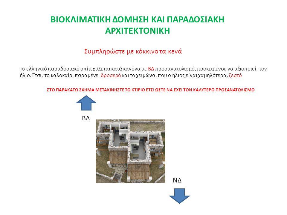 Το ελληνικό παραδοσιακό σπίτι χτίζεται κατά κανόνα με ΒΔ προσανατολισμό, προκειμένου να αξιοποιεί τον ήλιο. Έτσι, το καλοκαίρι παραμένει δροσερό και τ