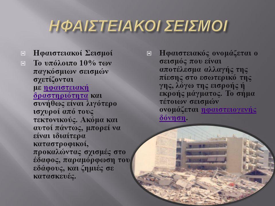 Κρυογενείς Σεισμοί  Υπάρχουν περιπτώσεις σεισμών που συμβαίνουν με την απότομη πτώση της θερμοκρασίας. Το έδαφος συγκρατεί νερό σε υγρή μορφή. Όταν