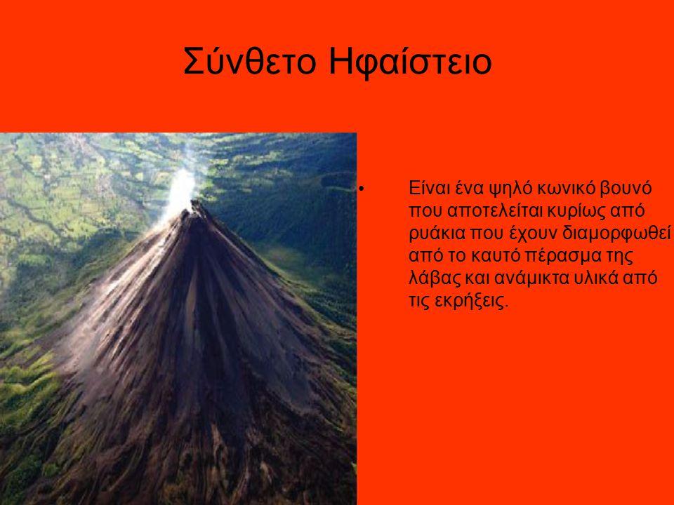 Η Δομή ενος Ηφαιστείου 1.Μεγάλος θάλαμος μάγματος 2.Βραχώδες υπόστρωμα 3.Αγωγός(σωλήνας) 4.Βάση 5.Περβάζι 6.Ανάχωμα 7.Στρώματα της τέφρας που εκπέμπεται από το ηφαίστειο 8.Πλευρά 9.Στρώματα λάβας που εκπέμπεται από το ηφαίστειο 10.Λαιμός 11.Παρασιτικοί κώνοι 12.Ροή λάβας 13.Διέξοδος 14.