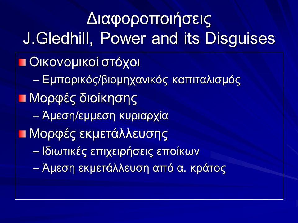 Διαφοροποιήσεις J.Gledhill, Power and its Disguises Οικονομικοί στόχοι –Εμπορικός/βιομηχανικός καπιταλισμός Μορφές διοίκησης –Άμεση/εμμεση κυριαρχία Μ