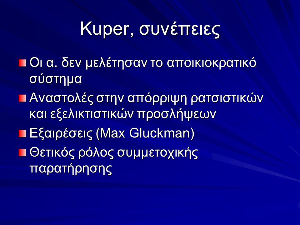 Kuper, συνέπειες Οι α. δεν μελέτησαν το αποικιοκρατικό σύστημα Αναστολές στην απόρριψη ρατσιστικών και εξελικτιστικών προσλήψεων Εξαιρέσεις (Max Gluck