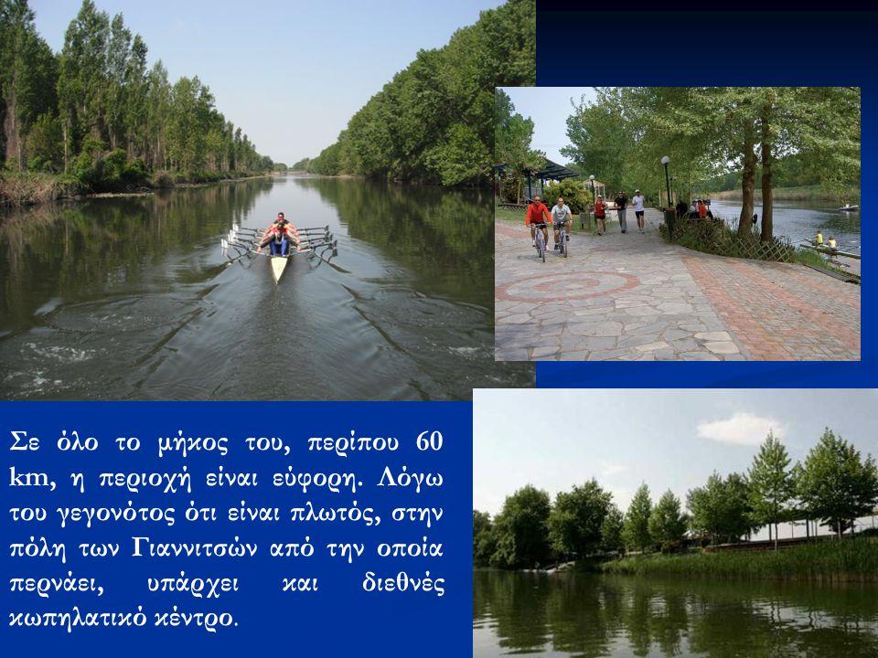 Σε όλο το μήκος του, περίπου 60 km, η περιοχή είναι εύφορη. Λόγω του γεγονότος ότι είναι πλωτός, στην πόλη των Γιαννιτσών από την οποία περνάει, υπάρχ