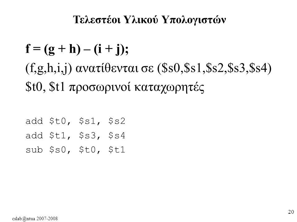 cslab@ntua 2007-2008 20 f = (g + h) – (i + j); (f,g,h,i,j) ανατίθενται σε ($s0,$s1,$s2,$s3,$s4) $t0, $t1 προσωρινοί καταχωρητές add $t0, $s1, $s2 add $t1, $s3, $s4 sub $s0, $t0, $t1 Τελεστέοι Υλικού Υπολογιστών