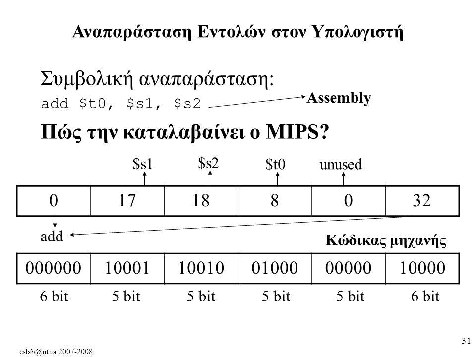 cslab@ntua 2007-2008 31 Αναπαράσταση Εντολών στον Υπολογιστή Συμβολική αναπαράσταση: add $t0, $s1, $s2 Πώς την καταλαβαίνει ο MIPS.