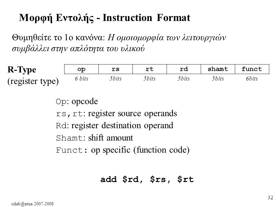 cslab@ntua 2007-2008 32 Μορφή Εντολής - Instruction Format Θυμηθείτε το 1ο κανόνα: Η ομοιομορφία των λειτουργιών συμβάλλει στην απλότητα του υλικού oprsrtrdshamtfunct 6 bits5bits 6bits R-Type (register type) Op : opcode rs,rt : register source operands Rd : register destination operand Shamt : shift amount Funct: op specific (function code) add $rd, $rs, $rt