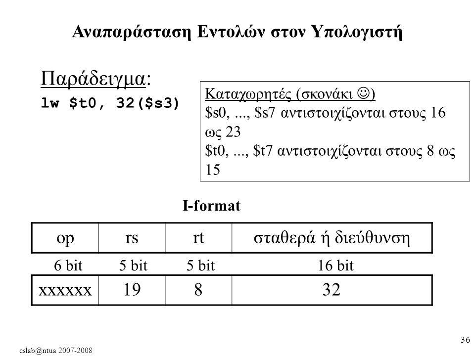 cslab@ntua 2007-2008 36 Αναπαράσταση Εντολών στον Υπολογιστή Παράδειγμα: lw $t0, 32($s3) oprsrtσταθερά ή διεύθυνση 6 bit5 bit 16 bit xxxxxx19832 Kαταχωρητές (σκονάκι ) $s0,..., $s7 αντιστοιχίζονται στους 16 ως 23 $t0,..., $t7 αντιστοιχίζονται στους 8 ως 15 I-format