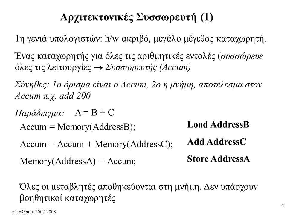 cslab@ntua 2007-2008 5 Αρχιτεκτονικές Συσσωρευτή (2) Κατά: Χρειάζονται πολλές εντολές για ένα πρόγραμμα Κάθε φορά πήγαινε-φέρε από τη μνήμη (.