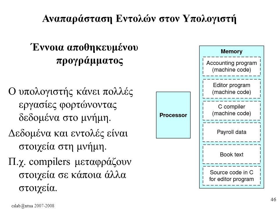 cslab@ntua 2007-2008 46 Αναπαράσταση Εντολών στον Υπολογιστή Έννοια αποθηκευμένου προγράμματος Ο υπολογιστής κάνει πολλές εργασίες φορτώνοντας δεδομένα στο μνήμη.