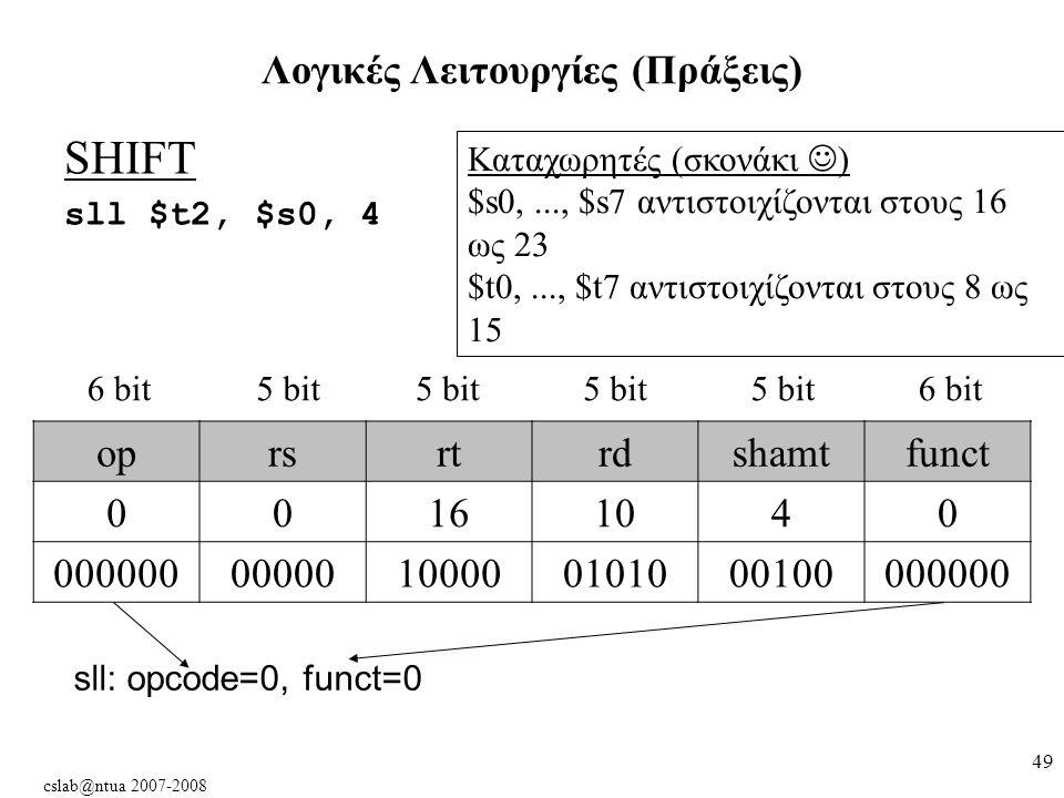 cslab@ntua 2007-2008 49 SHIFT sll $t2, $s0, 4 Λογικές Λειτουργίες (Πράξεις) oprsrtrdshamtfunct 00161040 00000000000100000101000100000000 6 bit5 bit 6 bit Kαταχωρητές (σκονάκι ) $s0,..., $s7 αντιστοιχίζονται στους 16 ως 23 $t0,..., $t7 αντιστοιχίζονται στους 8 ως 15 sll: opcode=0, funct=0