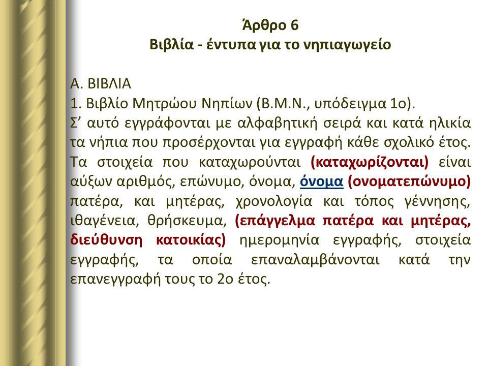 Άρθρο 6 Βιβλία - έντυπα για το νηπιαγωγείο Α. ΒΙΒΛΙΑ 1. Βιβλίο Μητρώου Νηπίων (Β.Μ.Ν., υπόδειγμα 1ο). Σ' αυτό εγγράφονται με αλφαβητική σειρά και κατά