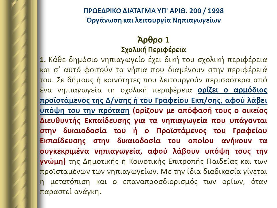 ΠΡΟΕΔΡΙΚΟ ΔΙΑΤΑΓΜΑ ΥΠ' ΑΡΙΘ. 200 / 1998 Οργάνωση και λειτουργία Νηπιαγωγείων Άρθρο 1 Σχολική Περιφέρεια 1. Κάθε δημόσιο νηπιαγωγείο έχει δική του σχολ