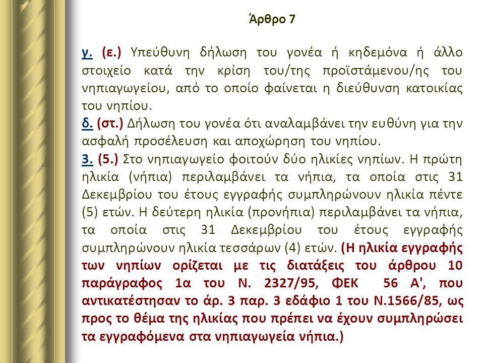 Άρθρο 7 γ. (ε.) Υπεύθυνη δήλωση του γονέα ή κηδεμόνα ή άλλο στοιχείο κατά την κρίση του/της προϊστάμενου/ης του νηπιαγωγείου, από το οποίο φαίνεται η