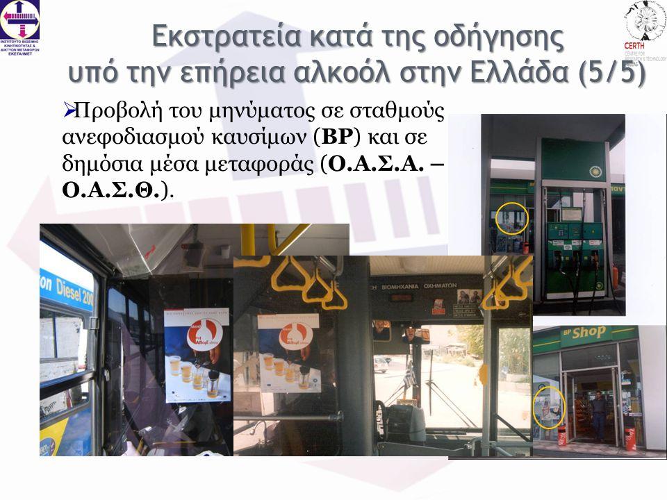  Προβολή του μηνύματος σε σταθμούς ανεφοδιασμού καυσίμων (BP) και σε δημόσια μέσα μεταφοράς (Ο.Α.Σ.Α.