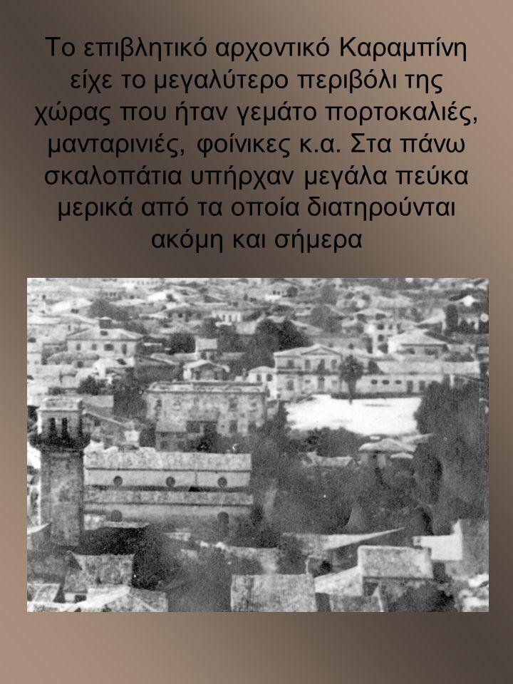 Το επιβλητικό αρχοντικό Καραμπίνη είχε το μεγαλύτερο περιβόλι της χώρας που ήταν γεμάτο πορτοκαλιές, μανταρινιές, φοίνικες κ.α.