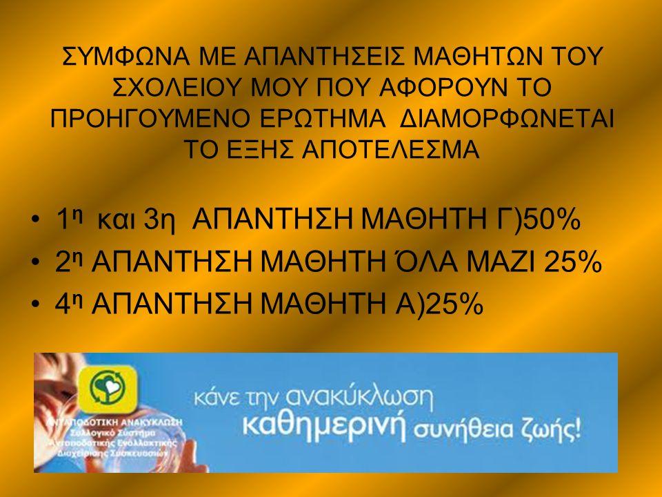 Η Ανακύκλωση πάει στα σχολεία Ενδεικτικά στη Θεσσαλονίκη συνεχίζεται για δέκατη τέταρτη συνεχόμενη χρονιά με μεγάλη επιτυχία το πρόγραμμα περιβαλλοντικής ενημέρωσης και ευαισθητοποίησης του Συνδέσμου Ο.Τ.Α.