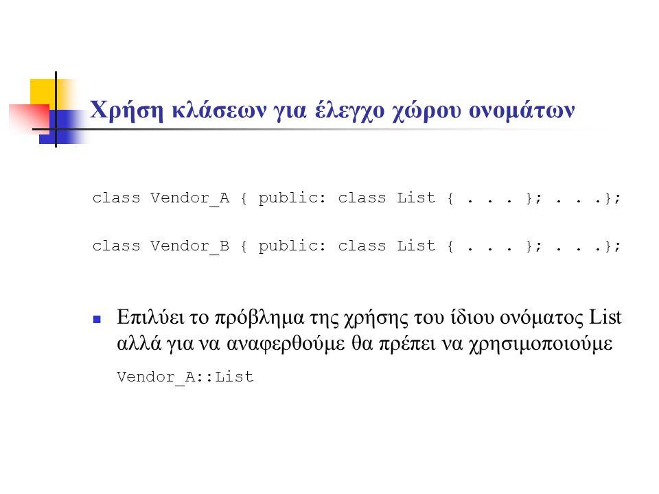 Χρήση κλάσεων για έλεγχο χώρου ονομάτων class Vendor_A { public: class List {...