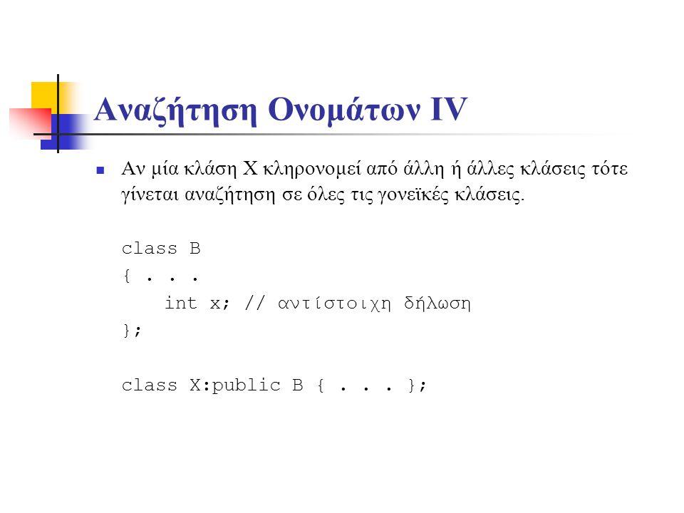 Αναζήτηση Ονομάτων V Τέλος, αναζητείται ως δήλωση καθολικής μεταβλητής στην εμβέλεια ολόκληρου του αρχείου πηγαίου κώδικα.