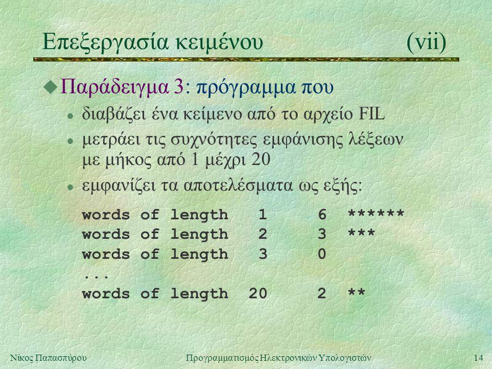 14Νίκος Παπασπύρου Προγραμματισμός Ηλεκτρονικών Υπολογιστών Επεξεργασία κειμένου(vii) u Παράδειγμα 3: πρόγραμμα που l διαβάζει ένα κείμενο από το αρχείο FIL l μετράει τις συχνότητες εμφάνισης λέξεων με μήκος από 1 μέχρι 20 l εμφανίζει τα αποτελέσματα ως εξής: words of length 1 6 ****** words of length 2 3 *** words of length 3 0...