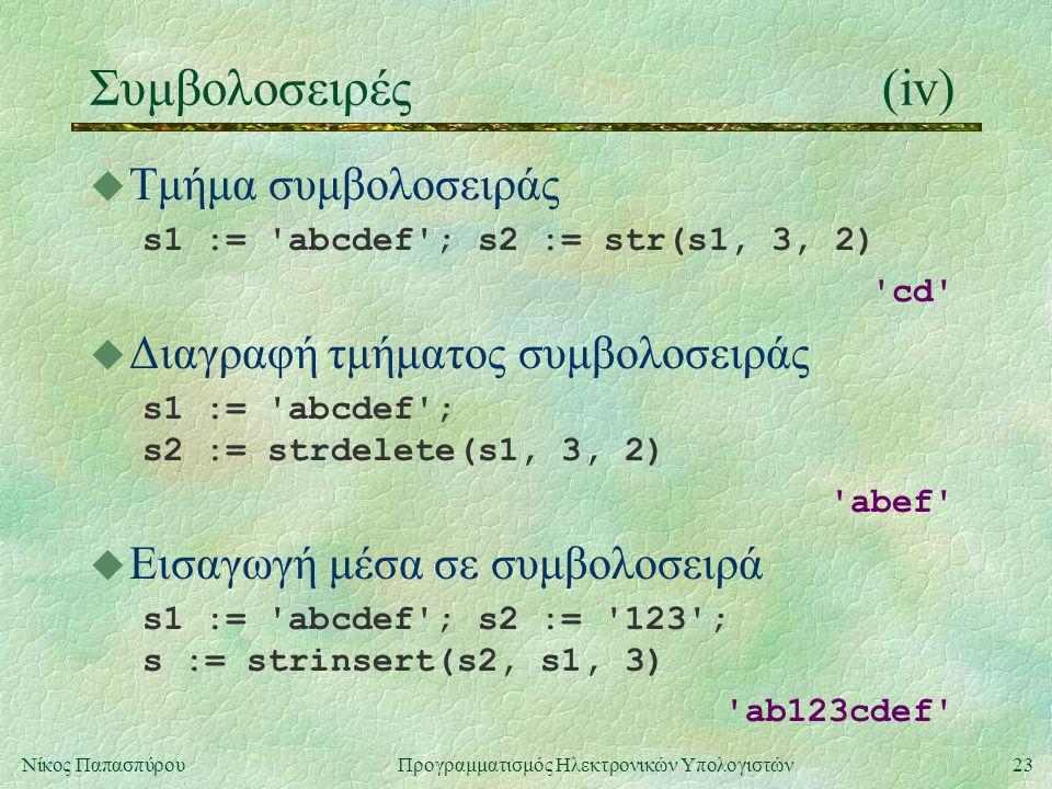 23Νίκος Παπασπύρου Προγραμματισμός Ηλεκτρονικών Υπολογιστών Συμβολοσειρές(iv) u Τμήμα συμβολοσειράς s1 := abcdef ; s2 := str(s1, 3, 2) cd u Διαγραφή τμήματος συμβολοσειράς s1 := abcdef ; s2 := strdelete(s1, 3, 2) abef u Εισαγωγή μέσα σε συμβολοσειρά s1 := abcdef ; s2 := 123 ; s := strinsert(s2, s1, 3) ab123cdef