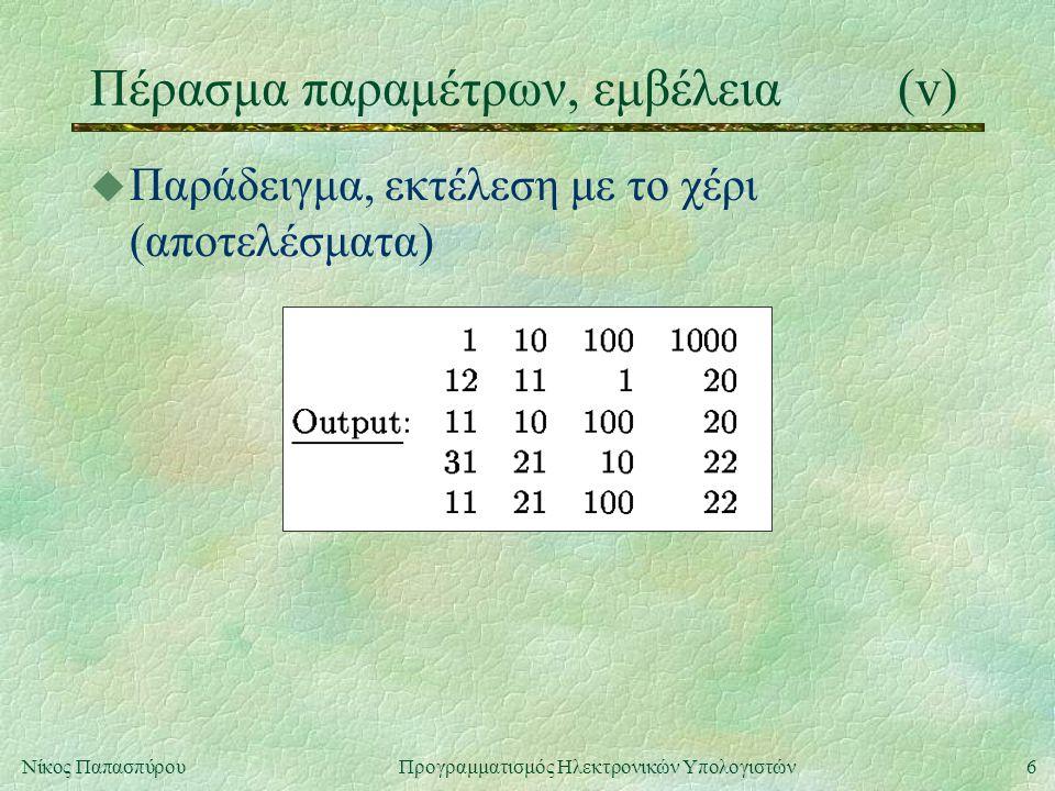 6Νίκος Παπασπύρου Προγραμματισμός Ηλεκτρονικών Υπολογιστών Πέρασμα παραμέτρων, εμβέλεια(v) u Παράδειγμα, εκτέλεση με το χέρι (αποτελέσματα)